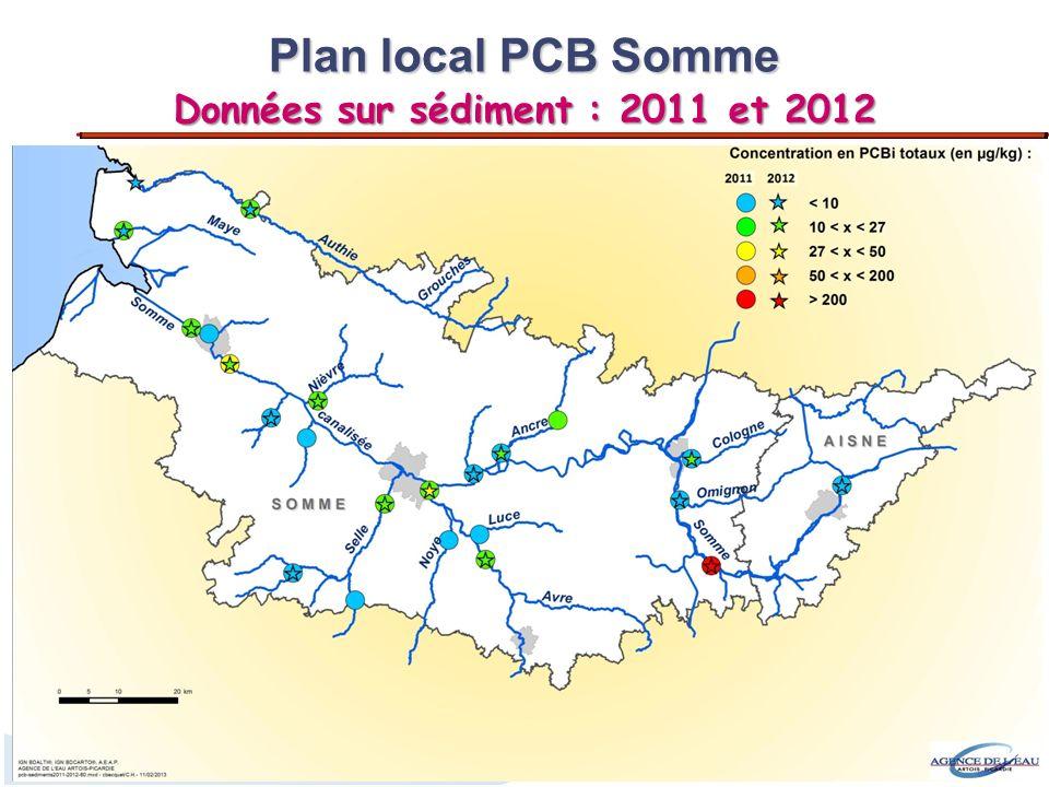 4 12 sites de prélèvement : Plan local PCB Somme (2009 et 2012) Approche « profil en long » Approche « transect » Prélèvements du sédiment : - en surface - en profondeur (analyses en cours)