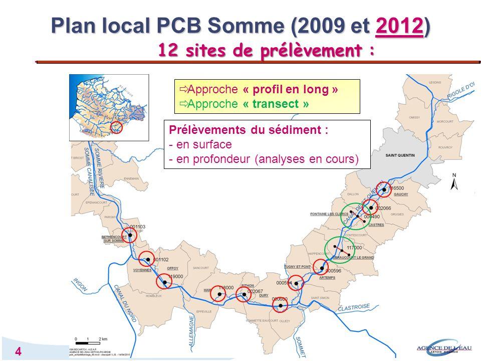 5 Les niveaux dimprégnation des sédiments par les PCB restent importants Déplacement et atténuation du pic de concentration, de Fontaine-les-Clercs vers Séraucourt-le-Grand Baisse régulière en aval de Séraucourt-le-Grand Pas daccumulation de PCB dans les étangs au sortir de la Somme rivière Plan local PCB Somme (2009 et 2012) Profil en long