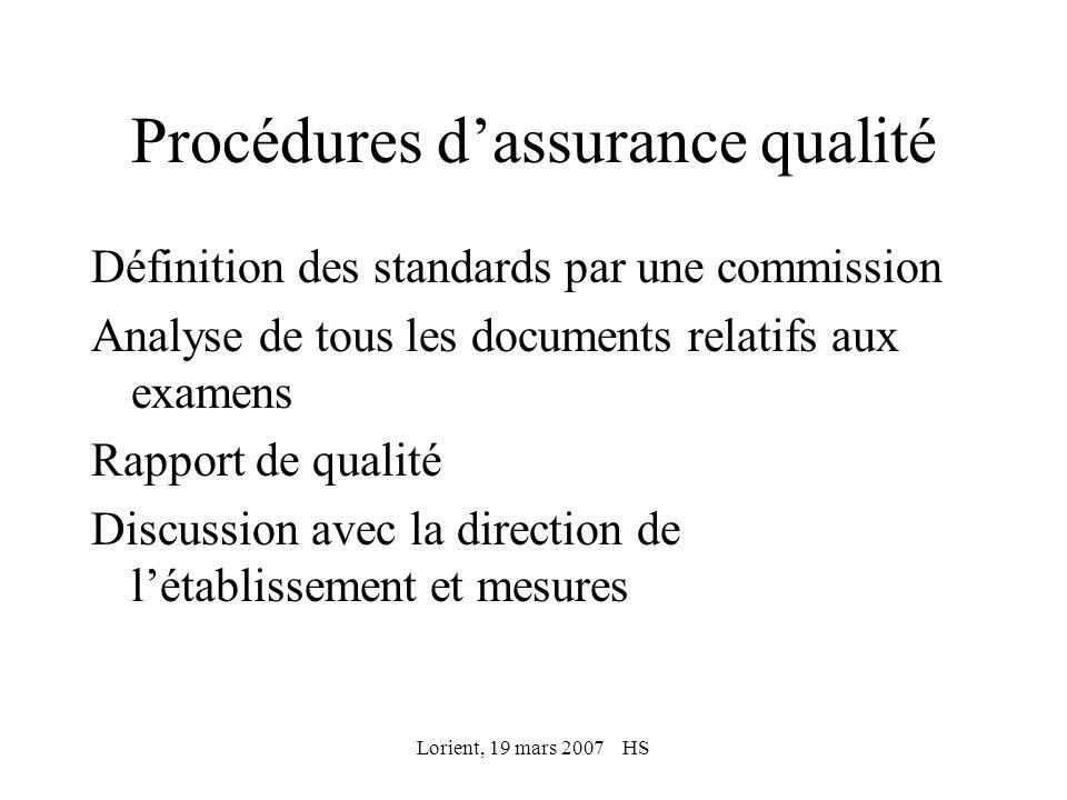 Lorient, 19 mars 2007 HS Procédures dassurance qualité Définition des standards par une commission Analyse de tous les documents relatifs aux examens