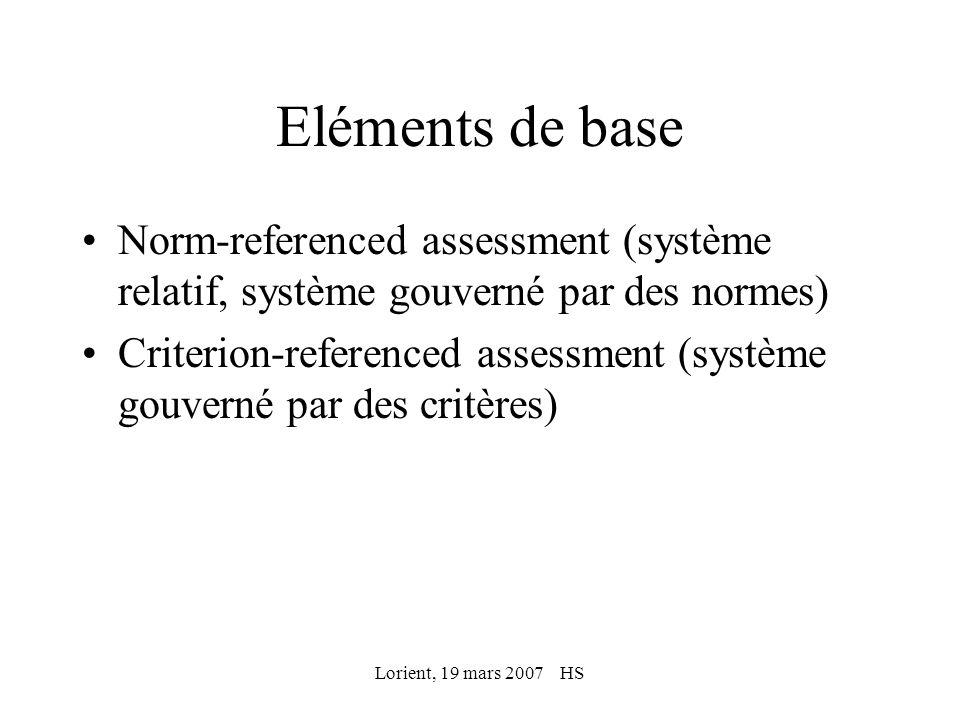 Lorient, 19 mars 2007 HS Eléments de base Norm-referenced assessment (système relatif, système gouverné par des normes) Criterion-referenced assessmen