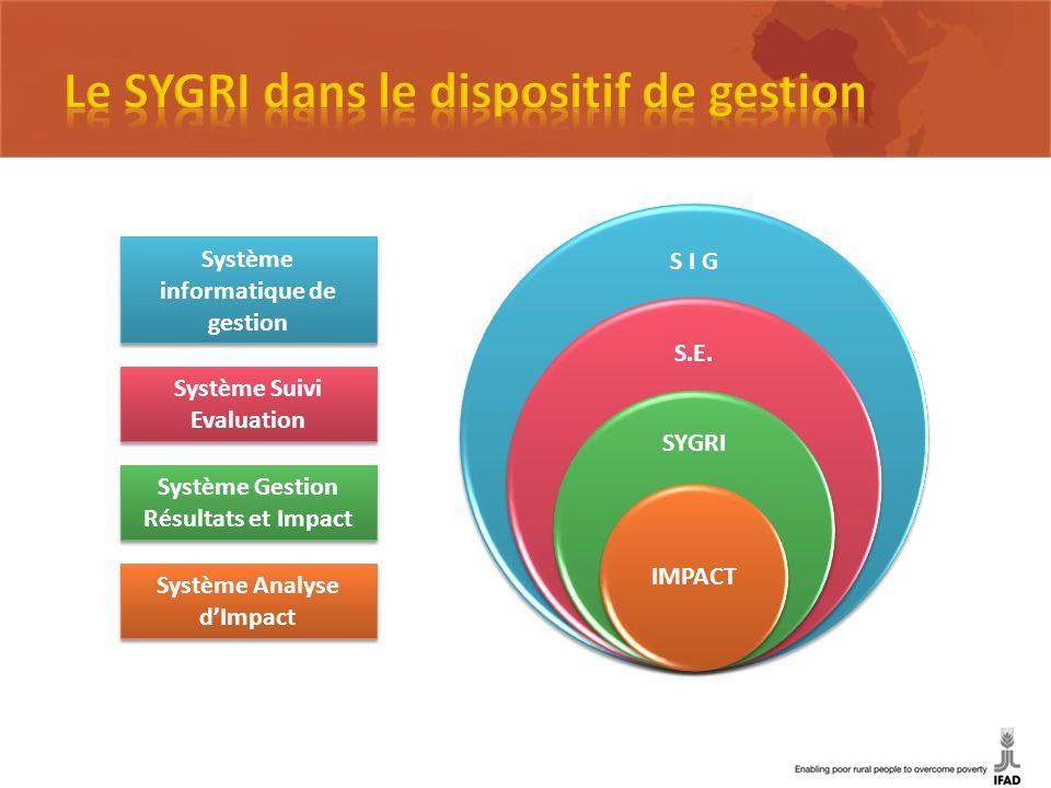Système Analyse dImpact Système Gestion Résultats et Impact Système Suivi Evaluation Système informatique de gestion S I G S.E. SYGRI IMPACT