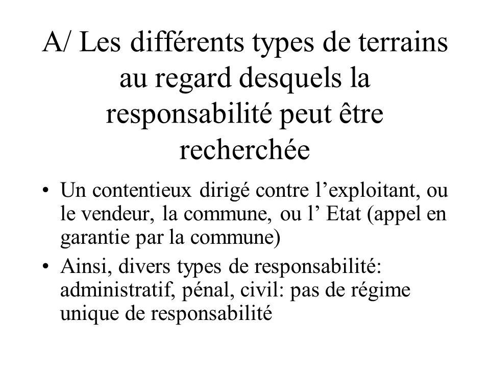A/ Les différents types de terrains au regard desquels la responsabilité peut être recherchée Un contentieux dirigé contre lexploitant, ou le vendeur,