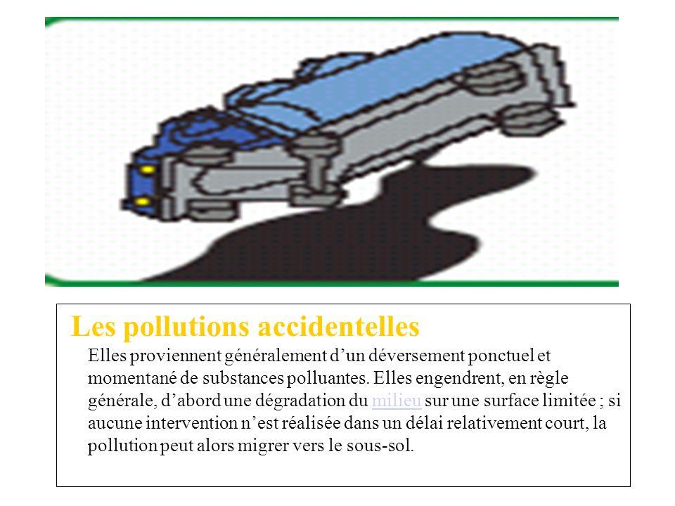 Les pollutions accidentelles Elles proviennent généralement dun déversement ponctuel et momentané de substances polluantes. Elles engendrent, en règle
