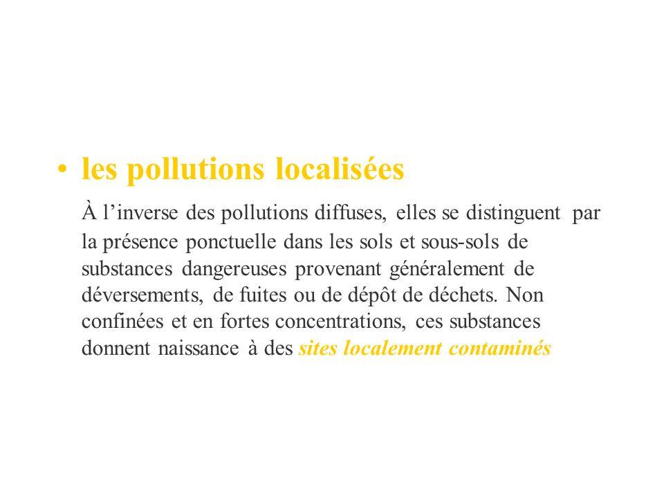 les pollutions localisées À linverse des pollutions diffuses, elles se distinguent par la présence ponctuelle dans les sols et sous-sols de substances