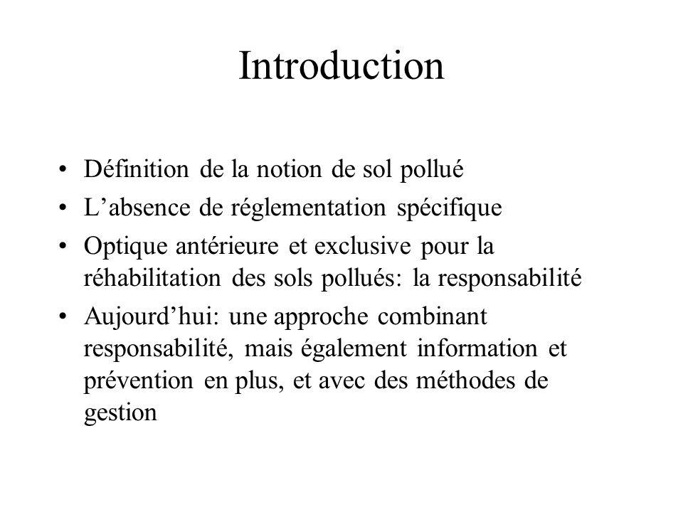 Introduction Définition de la notion de sol pollué Labsence de réglementation spécifique Optique antérieure et exclusive pour la réhabilitation des so