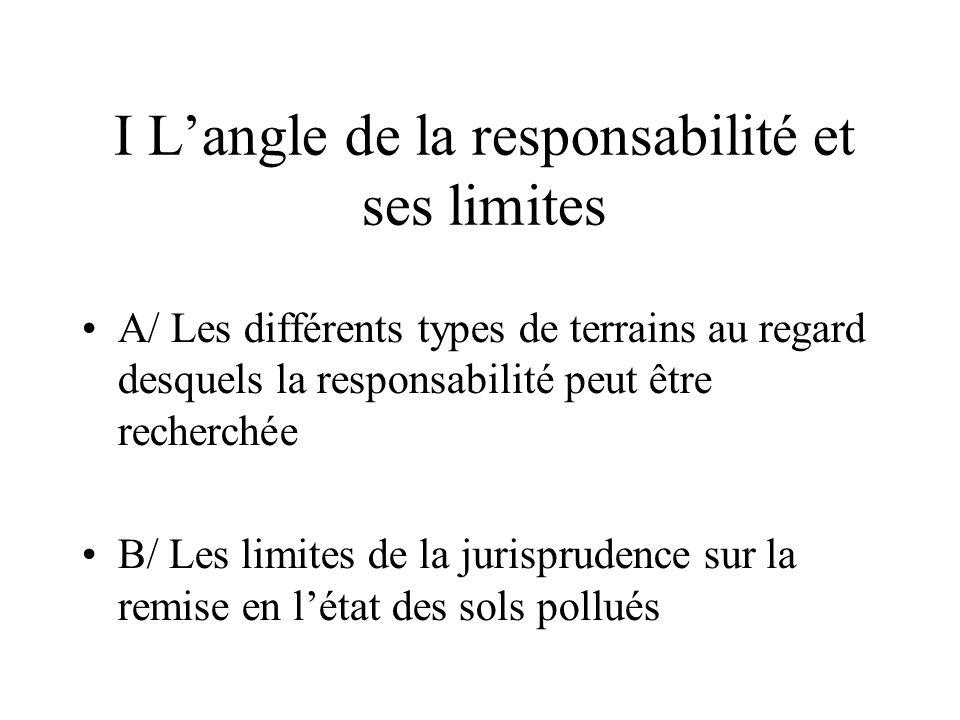 I Langle de la responsabilité et ses limites A/ Les différents types de terrains au regard desquels la responsabilité peut être recherchée B/ Les limi