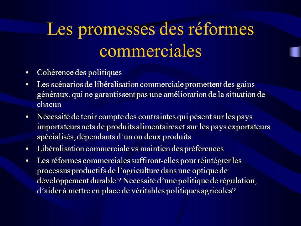Les promesses des réformes commerciales Cohérence des politiques Les scénarios de libéralisation commerciale promettent des gains généraux, qui ne gar