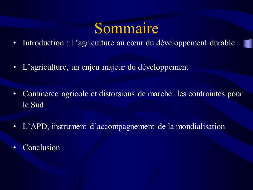 Sommaire Introduction : l agriculture au cœur du développement durable Lagriculture, un enjeu majeur du développement Commerce agricole et distorsions