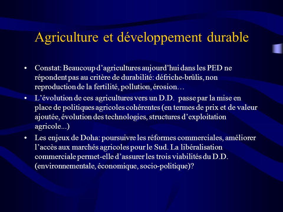 Agriculture et développement durable Constat: Beaucoup dagricultures aujourdhui dans les PED ne répondent pas au critère de durabilité: défriche-brûli