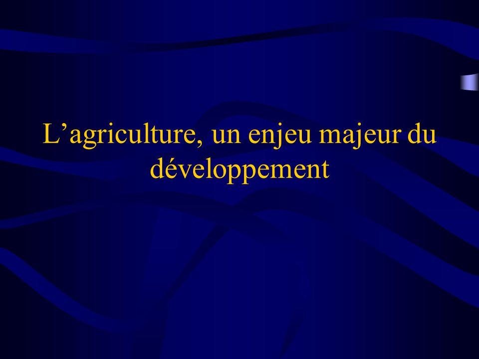 Limportance de lagriculture pour le développement Les trois quarts des 1,2 milliards de personnes qui souffrent de pauvreté extrême vivent dans des zones rurales Lagriculture, une source principale de subsistance pour 60 à 70% de la population du monde en développement (FAO).