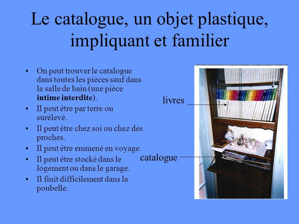 Le catalogue, un objet plastique, impliquant et familier On peut trouver le catalogue dans toutes les pièces sauf dans la salle de bain (une pièce int