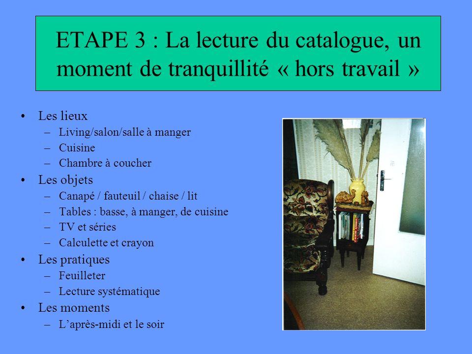 ETAPE 3 : La lecture du catalogue, un moment de tranquillité « hors travail » Les lieux –Living/salon/salle à manger –Cuisine –Chambre à coucher Les o
