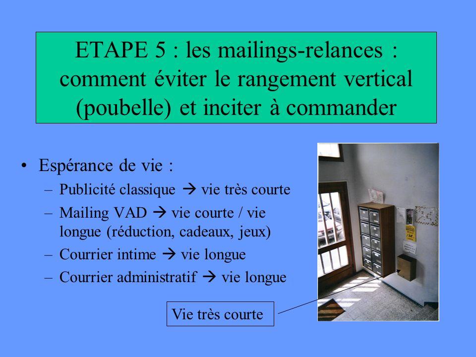 ETAPE 5 : les mailings-relances : comment éviter le rangement vertical (poubelle) et inciter à commander Espérance de vie : –Publicité classique vie t