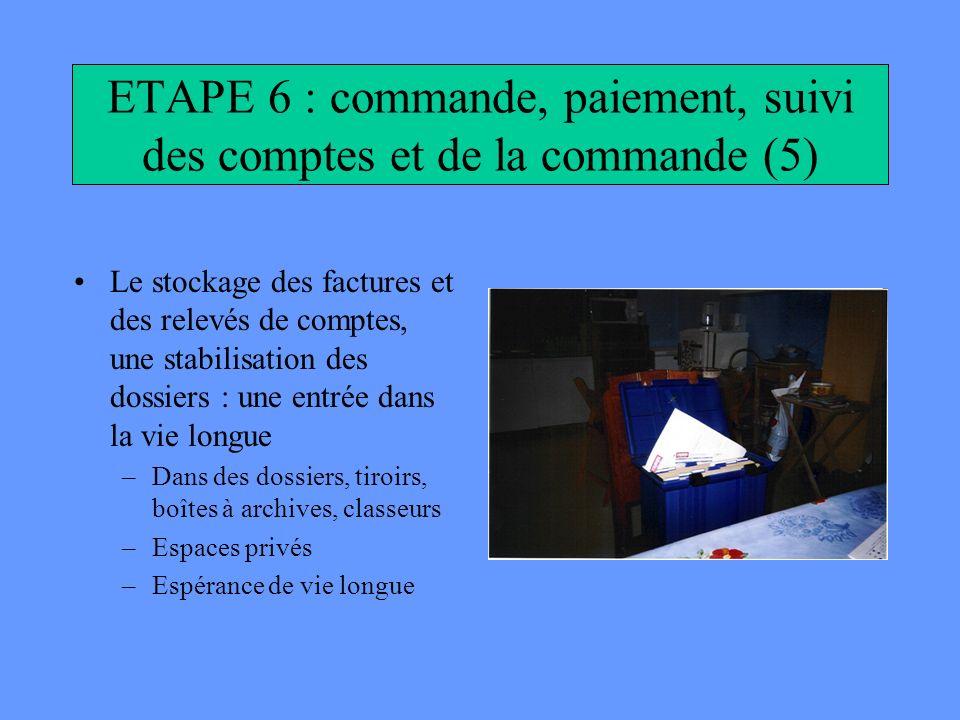 ETAPE 6 : commande, paiement, suivi des comptes et de la commande (5) Le stockage des factures et des relevés de comptes, une stabilisation des dossie