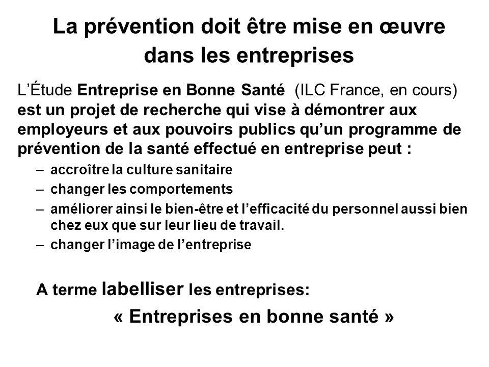 La prévention doit être mise en œuvre dans les entreprises LÉtude Entreprise en Bonne Santé (ILC France, en cours) est un projet de recherche qui vise