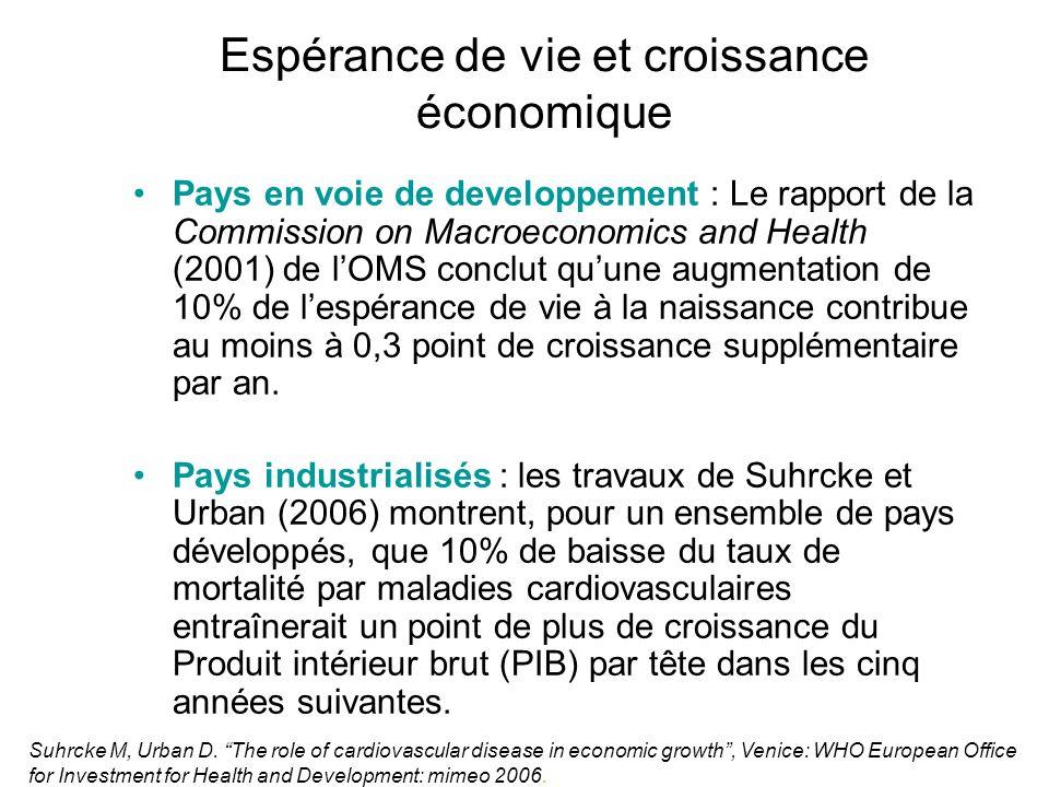 Espérance de vie et croissance économique Pays en voie de developpement : Le rapport de la Commission on Macroeconomics and Health (2001) de lOMS conc