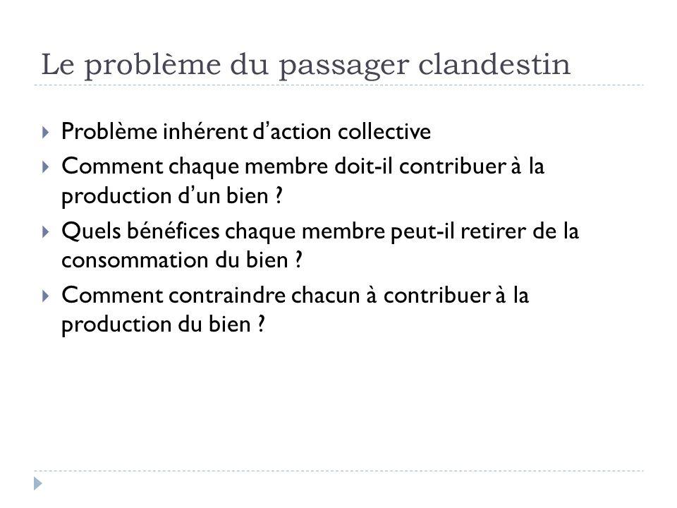 Le problème du passager clandestin Problème inhérent daction collective Comment chaque membre doit-il contribuer à la production dun bien .