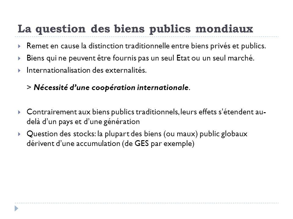 La question des biens publics mondiaux Remet en cause la distinction traditionnelle entre biens privés et publics.