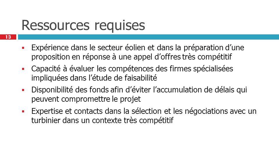 13 Ressources requises Expérience dans le secteur éolien et dans la préparation dune proposition en réponse à une appel doffres très compétitif Capaci