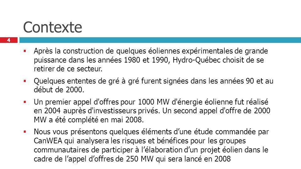 4 4 Contexte Après la construction de quelques éoliennes expérimentales de grande puissance dans les années 1980 et 1990, Hydro-Québec choisit de se retirer de ce secteur.