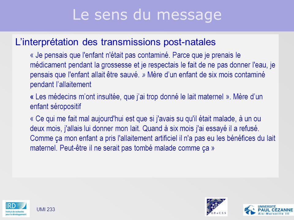 Le sens du message UMI 233 Linterprétation des transmissions post-natales « Je pensais que l'enfant n'était pas contaminé. Parce que je prenais le méd