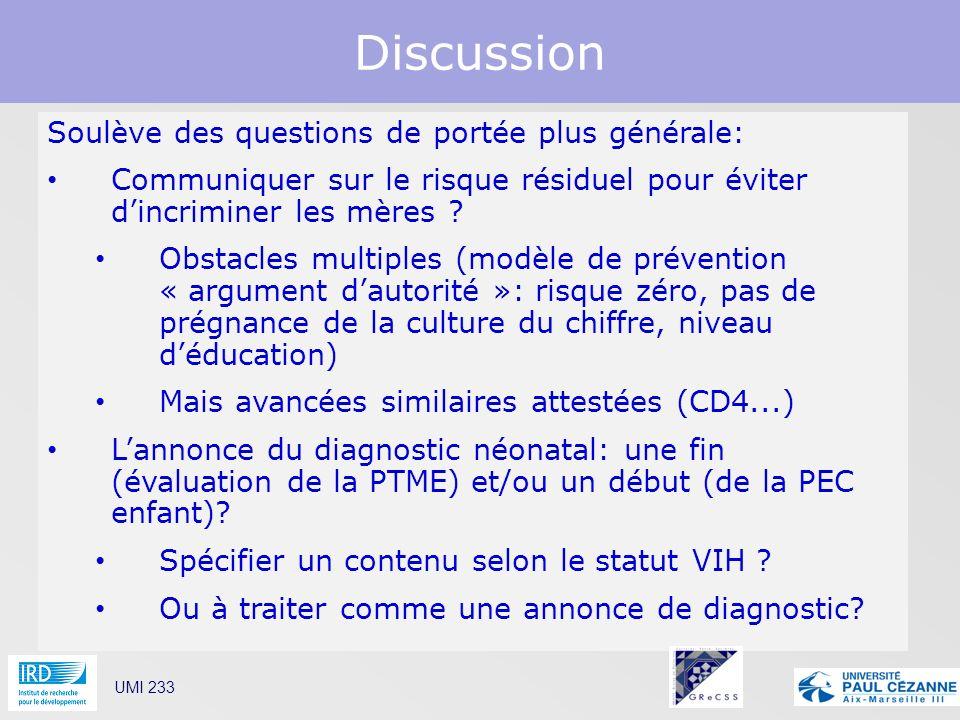 Discussion UMI 233 Soulève des questions de portée plus générale: Communiquer sur le risque résiduel pour éviter dincriminer les mères ? Obstacles mul