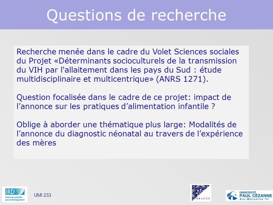 Questions de recherche UMI 233 Recherche menée dans le cadre du Volet Sciences sociales du Projet «Déterminants socioculturels de la transmission du V