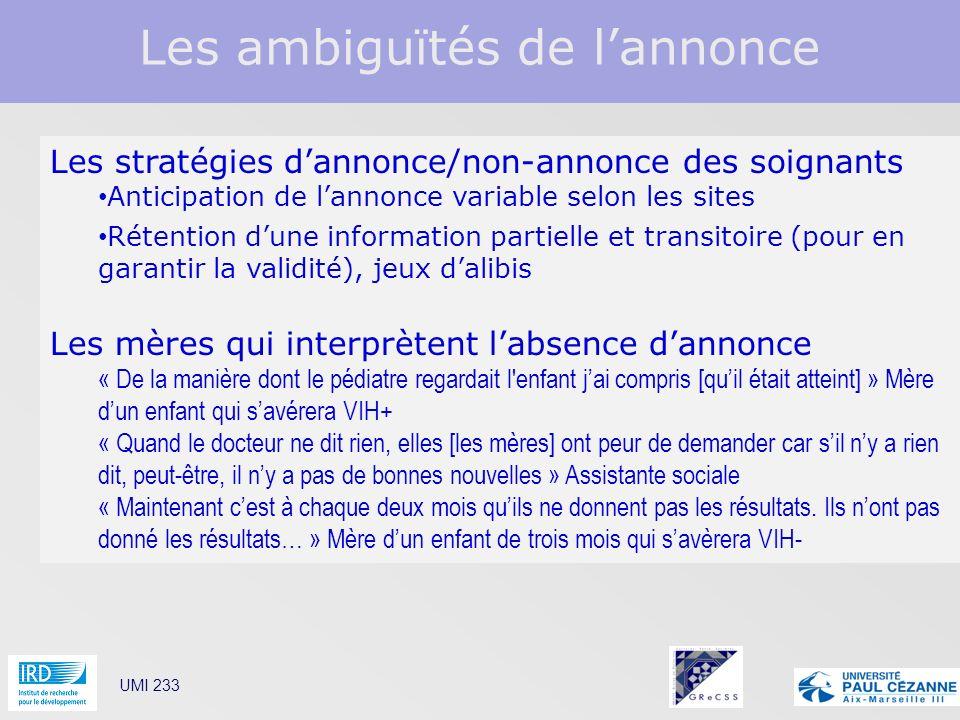 Les ambiguïtés de lannonce UMI 233 Les stratégies dannonce/non-annonce des soignants Anticipation de lannonce variable selon les sites Rétention dune
