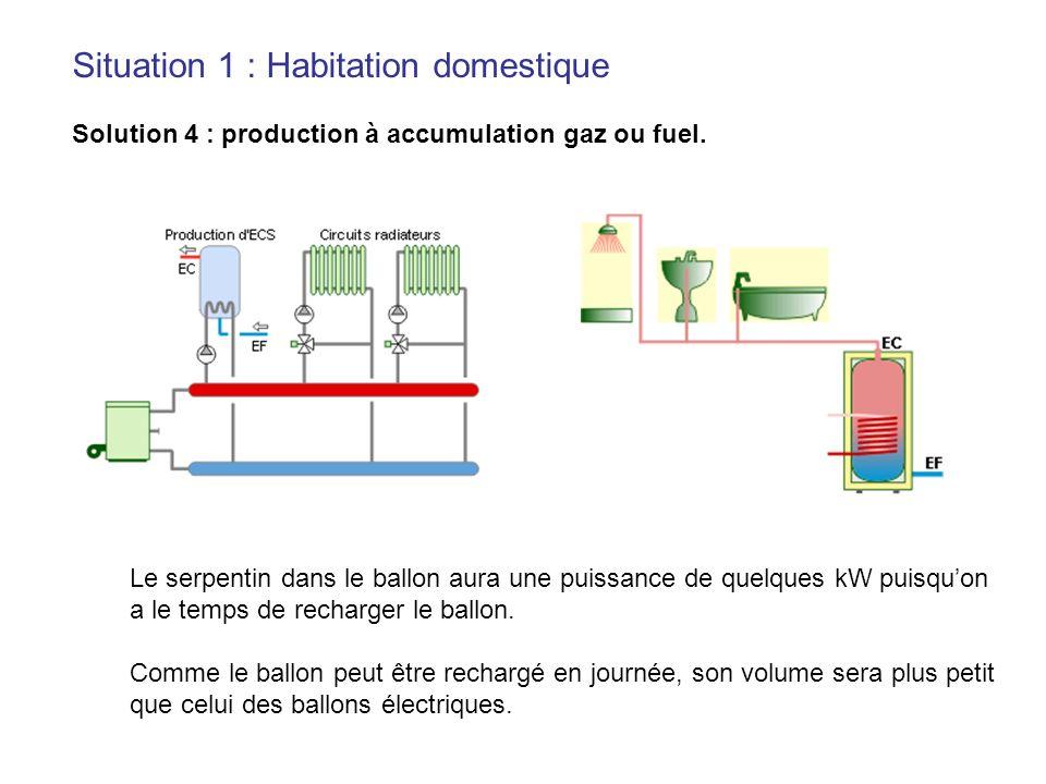 Situation 1 : Habitation domestique Solution 4 : production à accumulation gaz ou fuel. Le serpentin dans le ballon aura une puissance de quelques kW