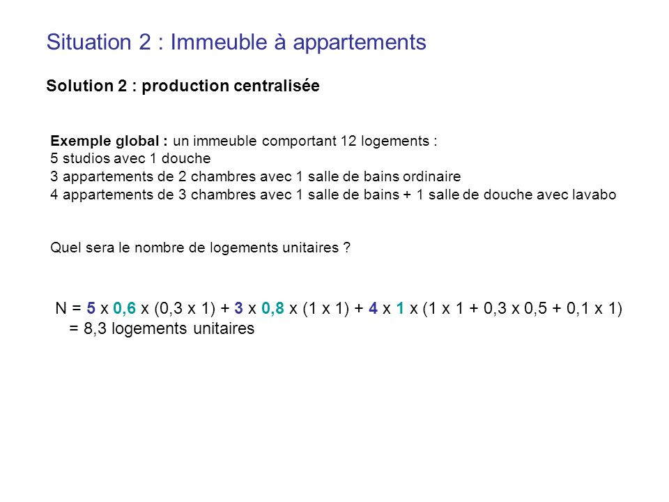 Situation 2 : Immeuble à appartements Solution 2 : production centralisée Exemple global : un immeuble comportant 12 logements : 5 studios avec 1 douc