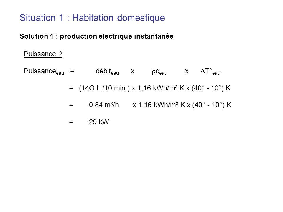 Puissance ? Puissance eau = débit eau x c eau x T° eau = (14O l. /10 min.) x 1,16 kWh/m³.K x (40° - 10°) K = 0,84 m³/h x 1,16 kWh/m³.K x (40° - 10°) K