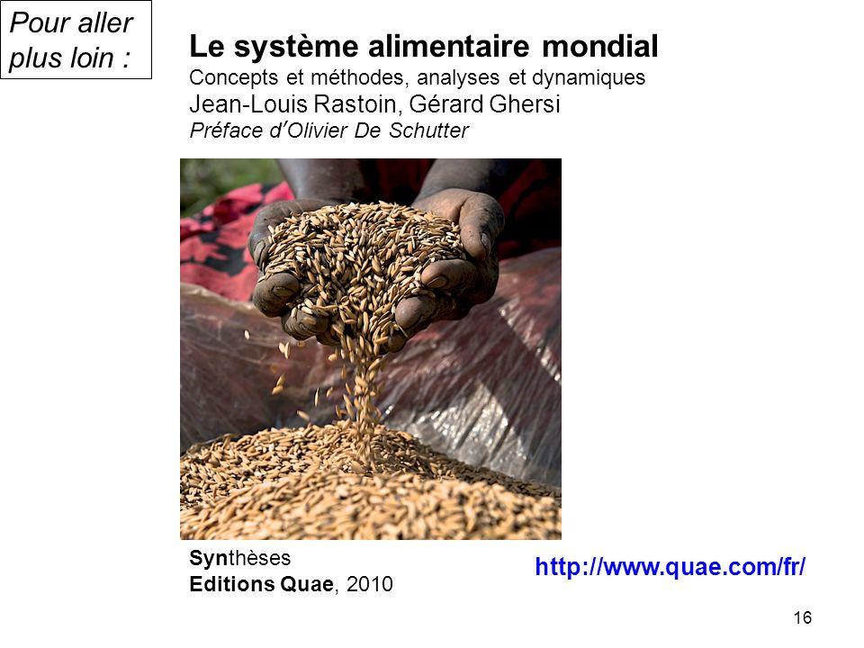 16 Le système alimentaire mondial Concepts et méthodes, analyses et dynamiques Jean-Louis Rastoin, Gérard Ghersi Préface dOlivier De Schutter Synthèse