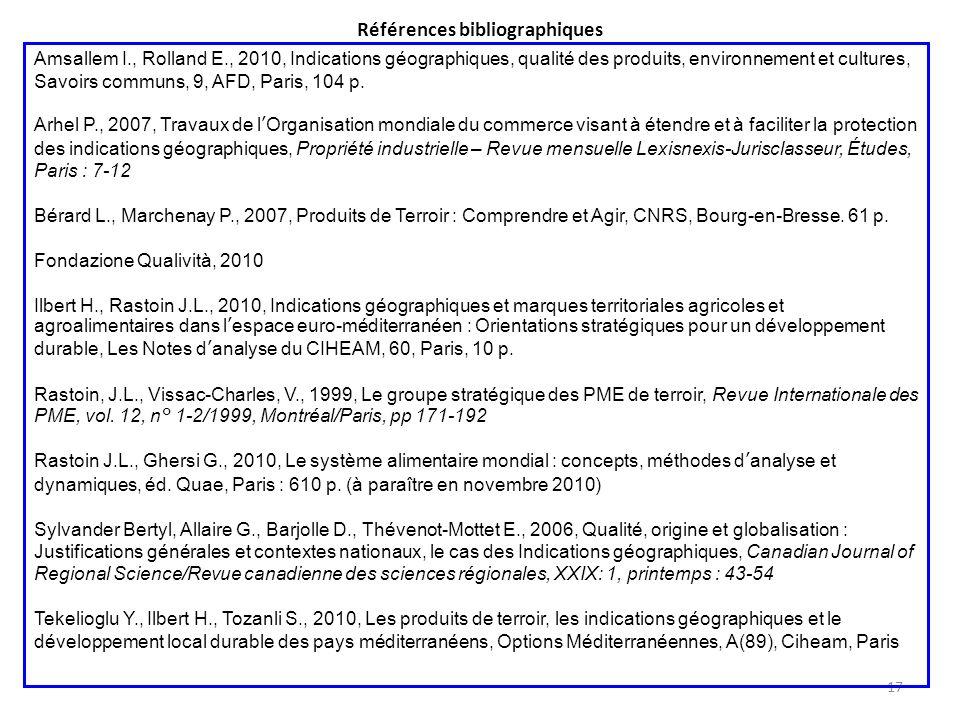 Références bibliographiques 17 Amsallem I., Rolland E., 2010, Indications géographiques, qualité des produits, environnement et cultures, Savoirs comm