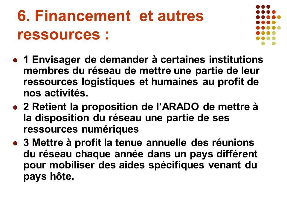 6. Financement et autres ressources : 1 Envisager de demander à certaines institutions membres du réseau de mettre une partie de leur ressources logis