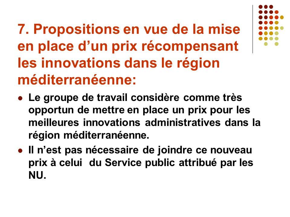 7. Propositions en vue de la mise en place dun prix récompensant les innovations dans le région méditerranéenne: Le groupe de travail considère comme