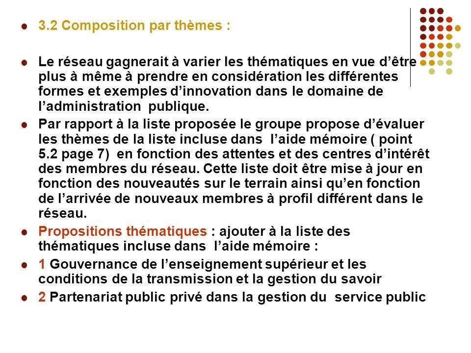 3.2 Composition par thèmes : Le réseau gagnerait à varier les thématiques en vue dêtre plus à même à prendre en considération les différentes formes et exemples dinnovation dans le domaine de ladministration publique.