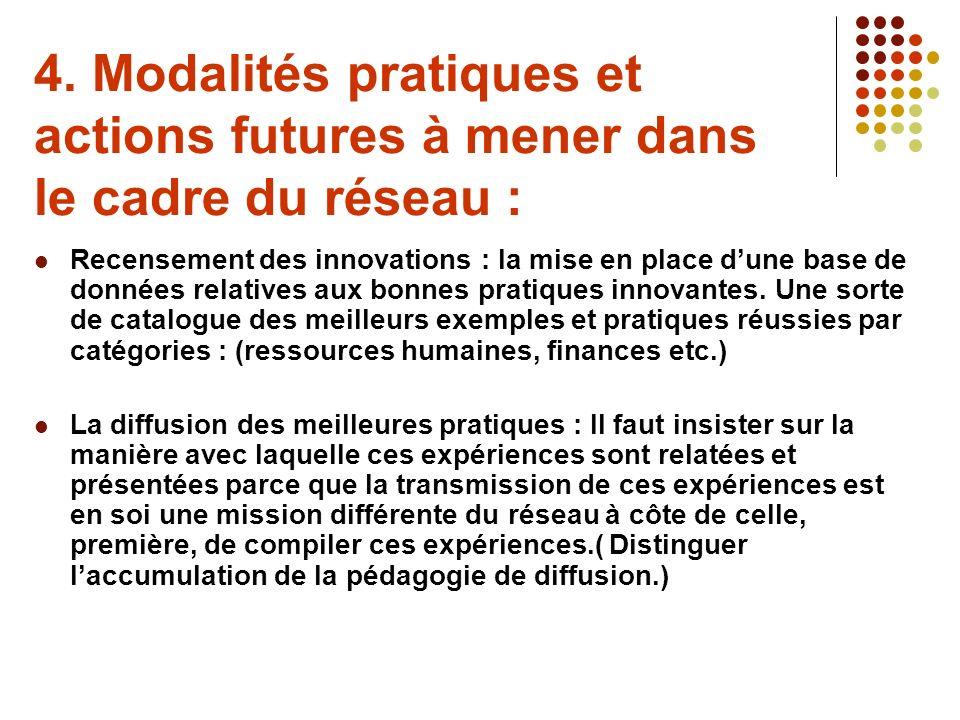 4. Modalités pratiques et actions futures à mener dans le cadre du réseau : Recensement des innovations : la mise en place dune base de données relati