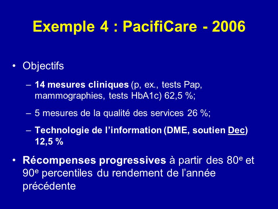 Exemple 4 : PacifiCare - 2006 Objectifs –14 mesures cliniques (p, ex., tests Pap, mammographies, tests HbA1c) 62,5 %; –5 mesures de la qualité des ser