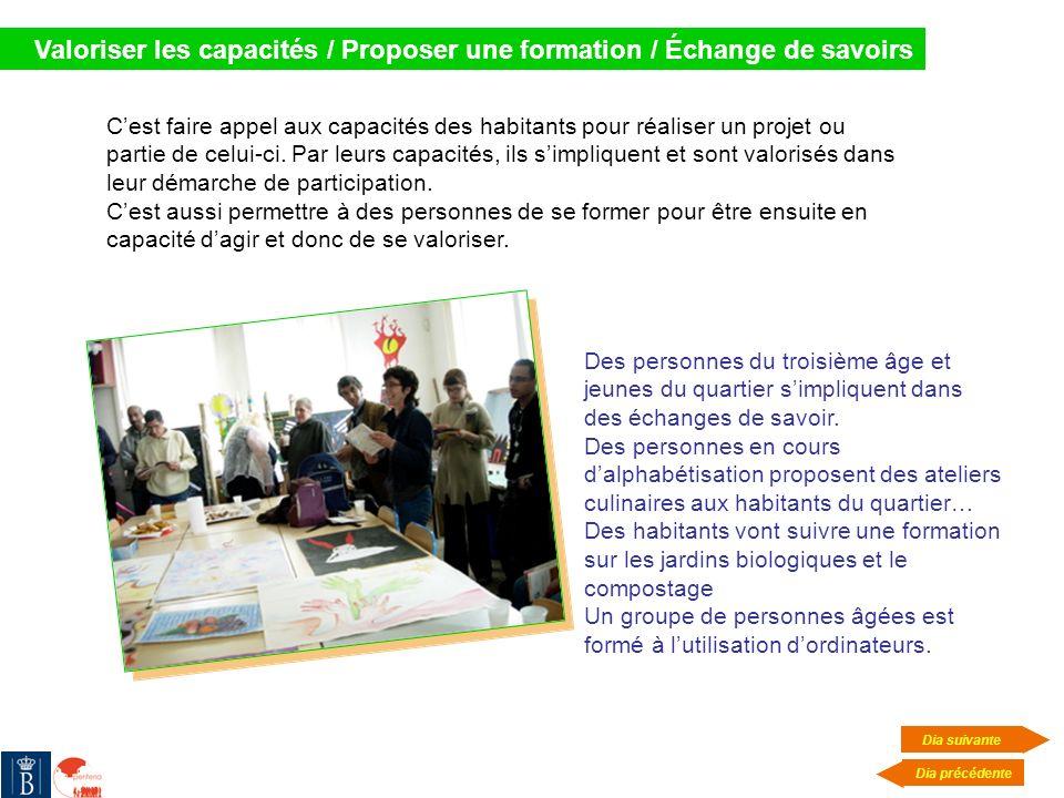Valoriser les capacités / Proposer une formation / Échange de savoirs Cest faire appel aux capacités des habitants pour réaliser un projet ou partie d