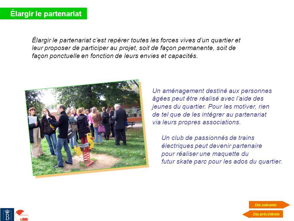 Élargir le partenariat Élargir le partenariat cest repérer toutes les forces vives dun quartier et leur proposer de participer au projet, soit de faço