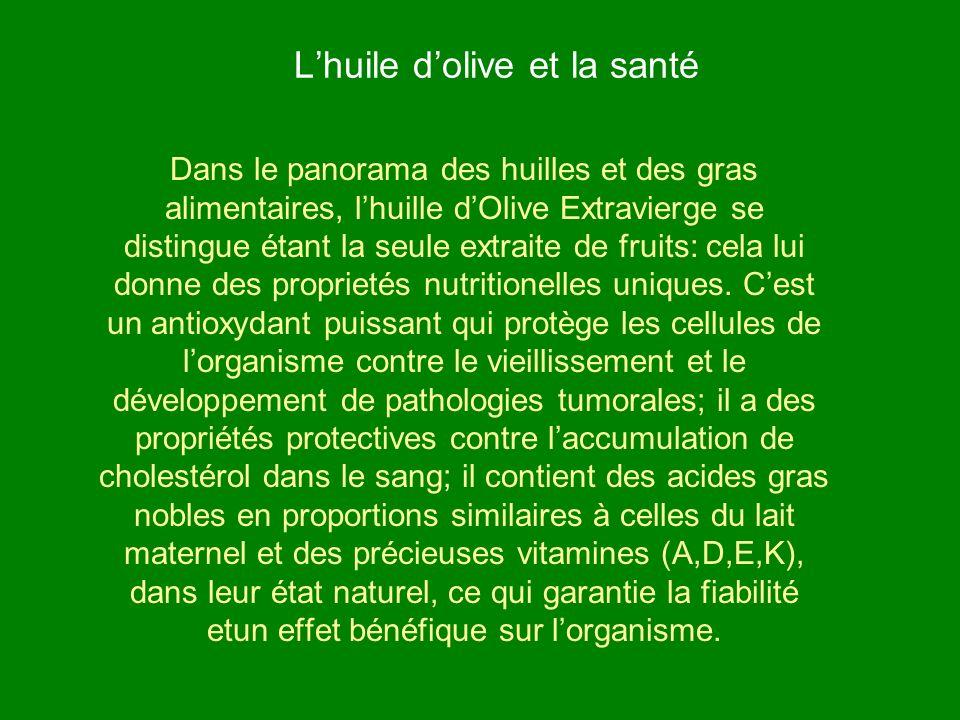 Lhuile dolive et la santé Dans le panorama des huilles et des gras alimentaires, lhuille dOlive Extravierge se distingue étant la seule extraite de fr