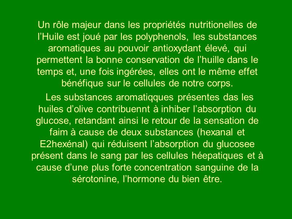 Un rôle majeur dans les propriétés nutritionelles de lHuile est joué par les polyphenols, les substances aromatiques au pouvoir antioxydant élevé, qui