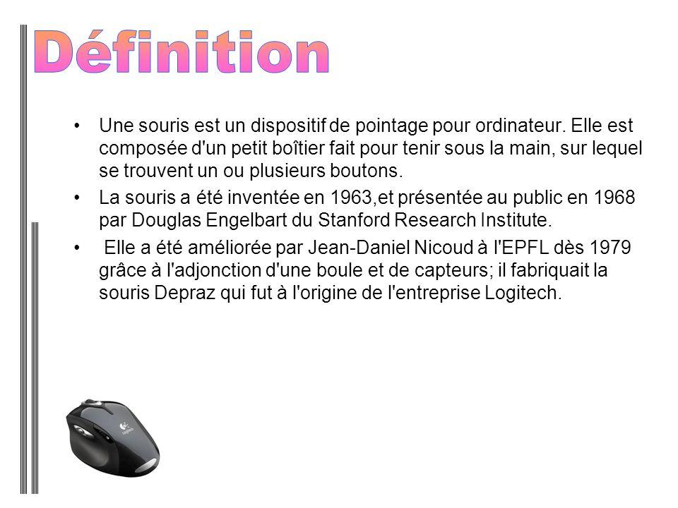 Une souris est un dispositif de pointage pour ordinateur. Elle est composée d'un petit boîtier fait pour tenir sous la main, sur lequel se trouvent un