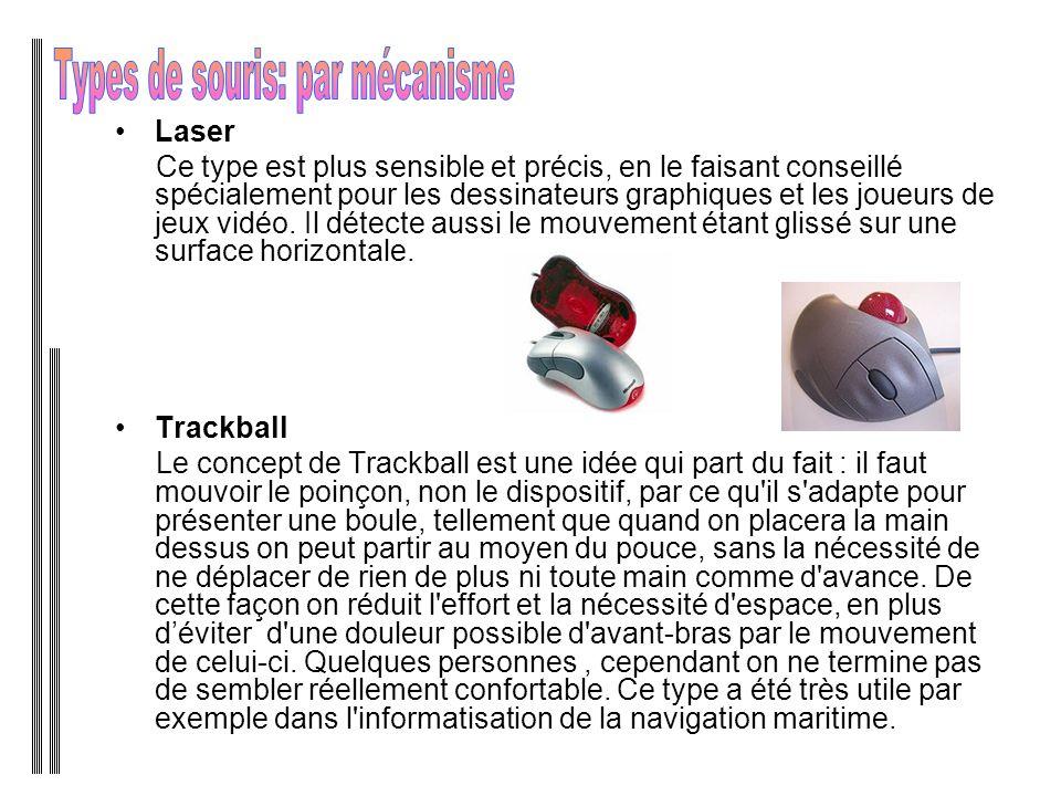 Laser Ce type est plus sensible et précis, en le faisant conseillé spécialement pour les dessinateurs graphiques et les joueurs de jeux vidéo.