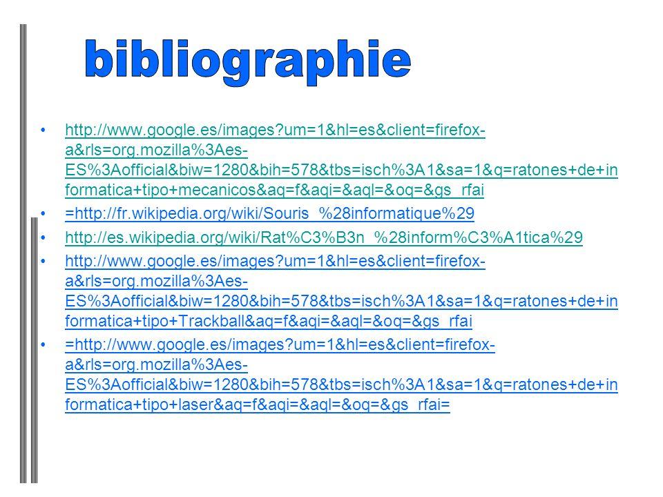 http://www.google.es/images?um=1&hl=es&client=firefox- a&rls=org.mozilla%3Aes- ES%3Aofficial&biw=1280&bih=578&tbs=isch%3A1&sa=1&q=ratones+de+in formatica+tipo+mecanicos&aq=f&aqi=&aql=&oq=&gs_rfaihttp://www.google.es/images?um=1&hl=es&client=firefox- a&rls=org.mozilla%3Aes- ES%3Aofficial&biw=1280&bih=578&tbs=isch%3A1&sa=1&q=ratones+de+in formatica+tipo+mecanicos&aq=f&aqi=&aql=&oq=&gs_rfai =http://fr.wikipedia.org/wiki/Souris_%28informatique%29 http://es.wikipedia.org/wiki/Rat%C3%B3n_%28inform%C3%A1tica%29 http://www.google.es/images?um=1&hl=es&client=firefox- a&rls=org.mozilla%3Aes- ES%3Aofficial&biw=1280&bih=578&tbs=isch%3A1&sa=1&q=ratones+de+in formatica+tipo+Trackball&aq=f&aqi=&aql=&oq=&gs_rfai =http://www.google.es/images?um=1&hl=es&client=firefox- a&rls=org.mozilla%3Aes- ES%3Aofficial&biw=1280&bih=578&tbs=isch%3A1&sa=1&q=ratones+de+in formatica+tipo+laser&aq=f&aqi=&aql=&oq=&gs_rfai=