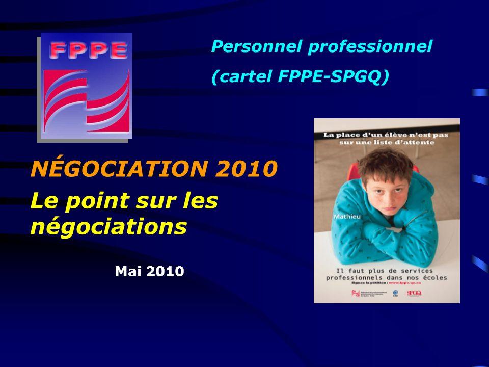 NÉGOCIATION 2010 Le point sur les négociations Mai 2010 Personnel professionnel (cartel FPPE-SPGQ)