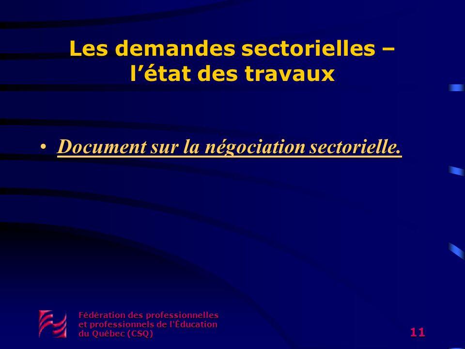 Fédération des professionnelles et professionnels de l Éducation du Québec (CSQ) 11 Les demandes sectorielles – létat des travaux Document sur la négociation sectorielle.Document sur la négociation sectorielle.