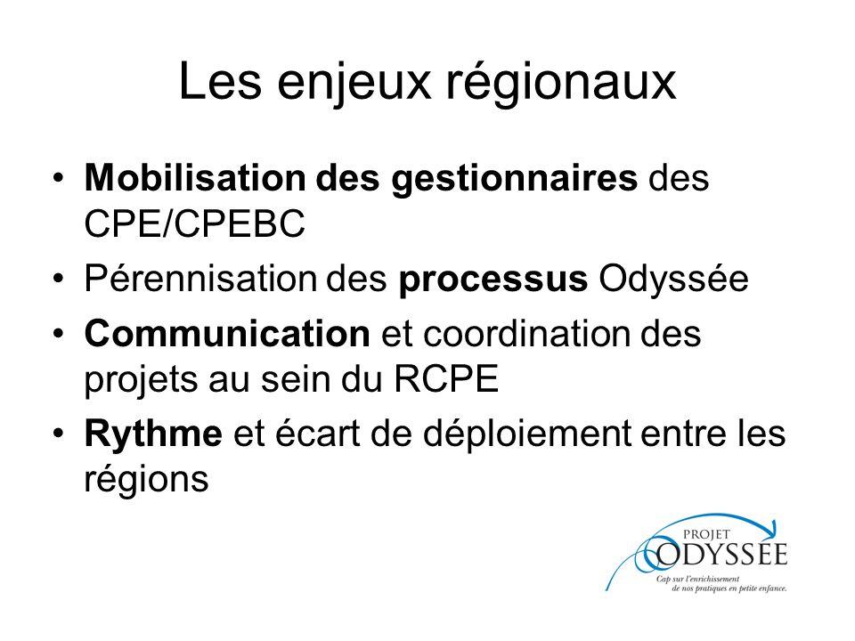 Les enjeux régionaux Mobilisation des gestionnaires des CPE/CPEBC Pérennisation des processus Odyssée Communication et coordination des projets au sein du RCPE Rythme et écart de déploiement entre les régions