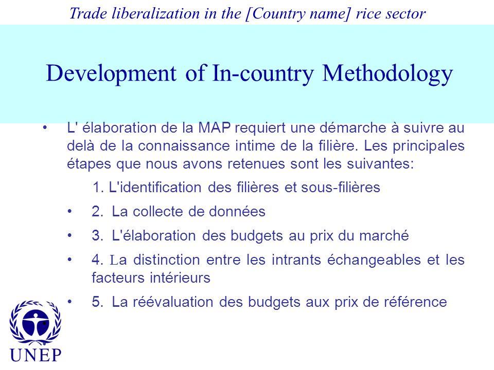 Development of In-country Methodology L élaboration de la MAP requiert une démarche à suivre au delà de la connaissance intime de la filière.