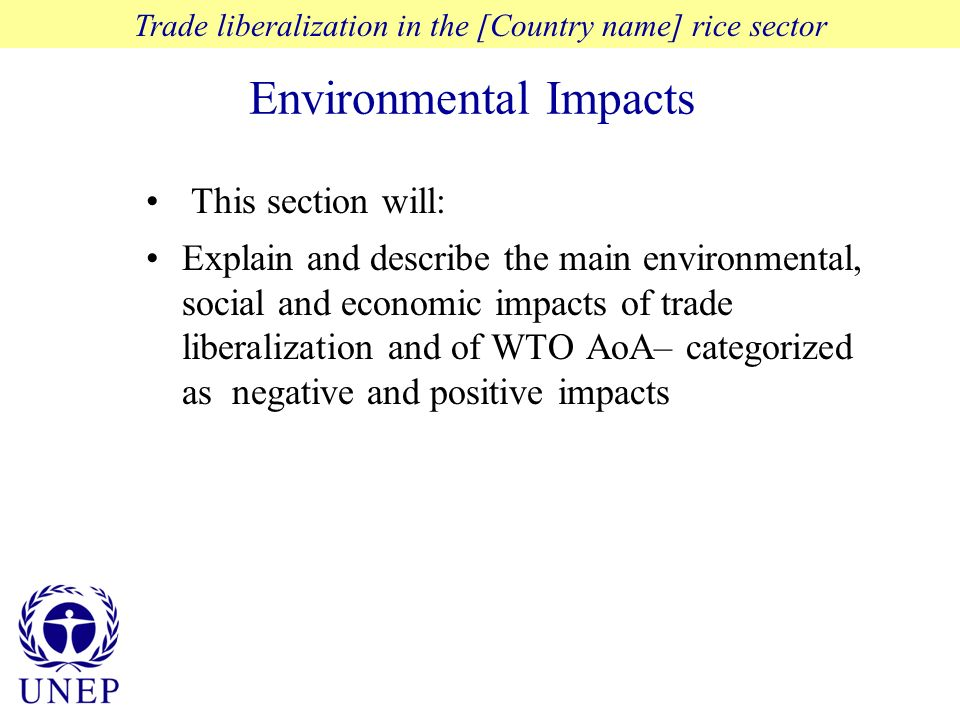 Environmental Impacts Trade liberalization in the [Country name] rice sector This section will: Explain and describe the main environmental, social and economic impacts of trade liberalization and of WTO AoA– categorized as negative and positive impacts